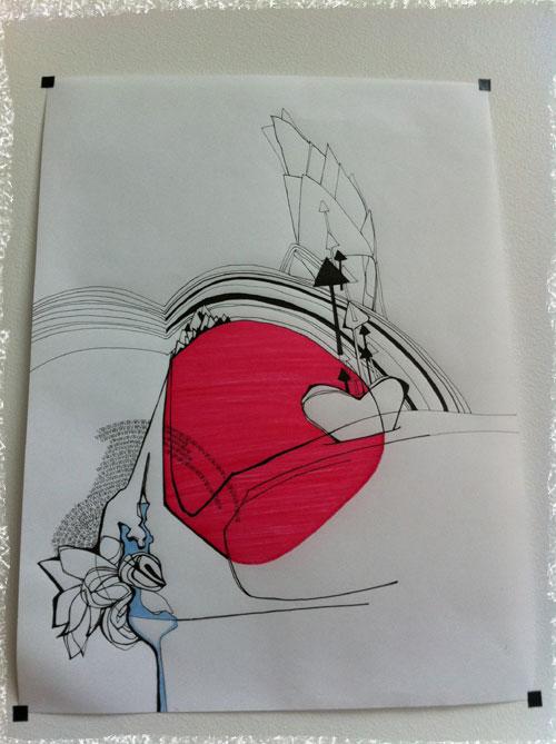 Feutres sur papier, oeuvre graphique de Viviane LeBlanc Brossard, crédit photo CuisineEtc